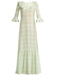 The Vampire's Wife Gloria Ruffle Trimmed Checked Gauze Gown Green