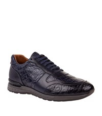 Corneliani Caiman Lace Up Sneakers Male Navy