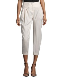 Halston Pleated Front Cropped Pants Atmsp