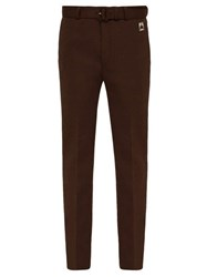 Prada Belted Straight Leg Technical Jersey Trousers Dark Brown