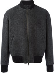 Jil Sander Tweed Bomber Jacket Grey