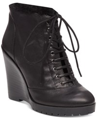 Jessica Simpson Kaelo Faux Shearling Lace Up Wedge Booties Women's Shoes Black
