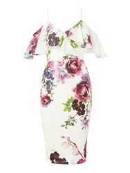 Jessica Wright Floral Print Thin Strap Midi Dress With Ruffles Multi Coloured Multi Coloured