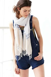 Urban Outfitters Washed Cotton Stripe Blanket Scarf Neutral Multi