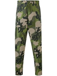 Tom Rebl Camouflage Printed Trousers Men Cotton Acrylic Polyester Spandex Elastane 52 Brown
