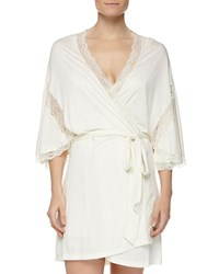 Eberjey Something Blue Robe With Lace Detail Ivory