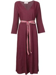Danielapi Striped Belt Dress Red