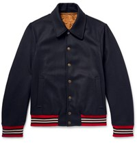 Dries Van Noten Drie Reverible Wool Blend Bomber Jacket Navy