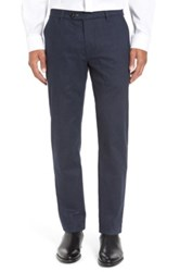 Ted Baker Freshman Classic Fit Flat Front Pants Blue