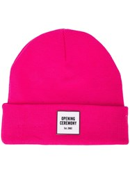 Opening Ceremony Logo Knit Beanie Pink