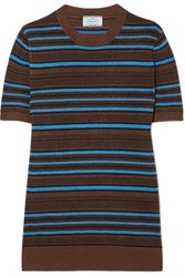 Prada Striped Metallic Wool Blend Sweater Blue