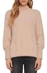 Willow And Clay Women's Fuzzy Mock Neck Sweater Peach