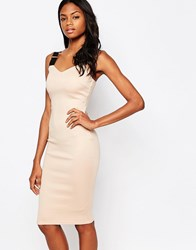 Ax Paris Midi Dress With Elasticated Straps Nude Pink