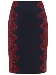 Ted Baker Queeny Scalloped Lace Edge Pencil Skirt Navy