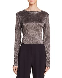 Alice Olivia Delaina Metallic Crop Top Silver