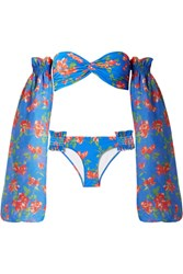 Caroline Constas Andros Floral Print Bikini And Cotton And Silk Blend Voile Sleeves Bright Blue