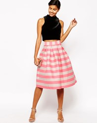 Asos Midi Prom Skirt In Pink And Nude Stripe Pinknude