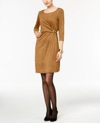 Ny Collection Faux Suede Hardware Sheath Dress Brown Sugar