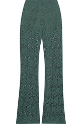 Miguelina Kai Cotton Guipure Lace Flared Pants Dark Green