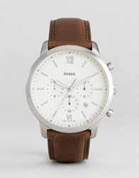 Fossil Fs5380 Neutra Chronograph Leather Watch In Brown Brown