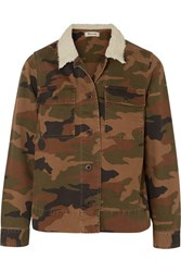 Madewell Northward Faux Shearling Trimmed Camouflage Print Cotton Twill Jacket Green