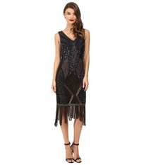 Unique Vintage Beaded Carwash Hem Flapper Dress Black Bronze Women's Dress