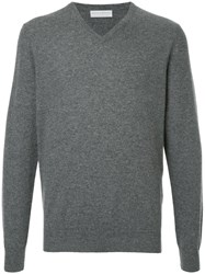 Gieves And Hawkes Classic V Neck Pullover Cashmere Grey