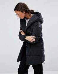 New Look Padded Wrap Over Coat Black