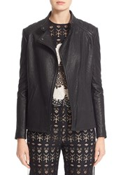 Yigal Azrouel Women's Lace Up Detail Lambskin Leather Jacket
