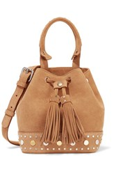 Sandro Alandra Studded Suede Bucket Bag One Size Sand