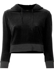 Juicy Couture Cropped Velvet Hoodie Black