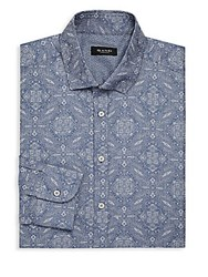 Sand Paisley Print Dress Shirt Blue White