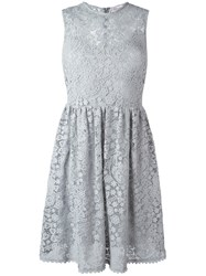 Red Valentino Lace Flared Dress Grey