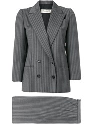 Christian Dior Vintage Haute Couture Pinstriped Skirt Suit Grey