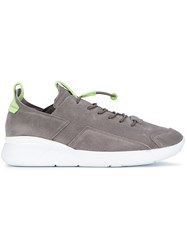 Enso Elasticated Lace Up Sneakers Men Leather Suede Rubber 41 Grey