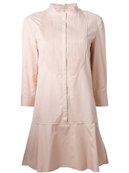Nina Ricci Ribbed Bib Shirt Dress Pink And Purple