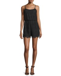 Alice Olivia Cassia Sleeveless Lace Romper Black