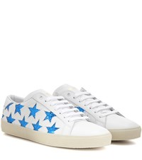 Saint Laurent Court Classic Sl 06 Star Embellished Leather Sneakers White