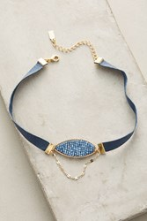 Anthropologie Suede Ensemble Choker Necklace Navy