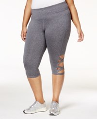 Material Girl Active Plus Size Crisscross Capri Leggings Only At Macy's Charcoal