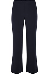 Helmut Lang Cropped Stretch Crepe Flared Pants Navy