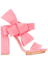 Delpozo Oversized Bow Sandals Pink Purple