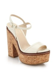 Jimmy Choo Naylor Cork Heeled Leather Sandals Green Off White