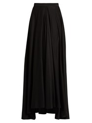 Lanvin Fluted Front Silk Crepe De Chine Skirt Black