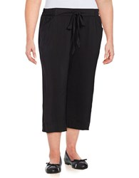B Collection By Bobeau Plus Solid Sateen Cropped Pants Black