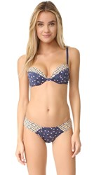 Cosabella Paul And Joe Jeanne Push Up Bra Mosaique Navy Blue Beach Sand