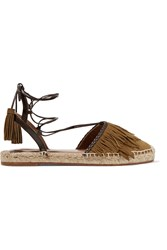 Aquazzura Pocahontas Leather Trimmed Suede Espadrilles Army Green
