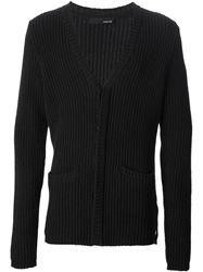 Avelon Ribbed Knit Cardigan Black