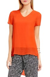 Vince Camuto Women's Shirttail V Neck Top Vivid Flame