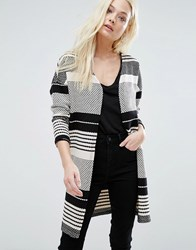 Only Pearl Stripe Open Cardigan Cloud Dancer W Black Multi